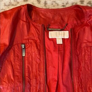 Red Leather Jacket - Michael Kors